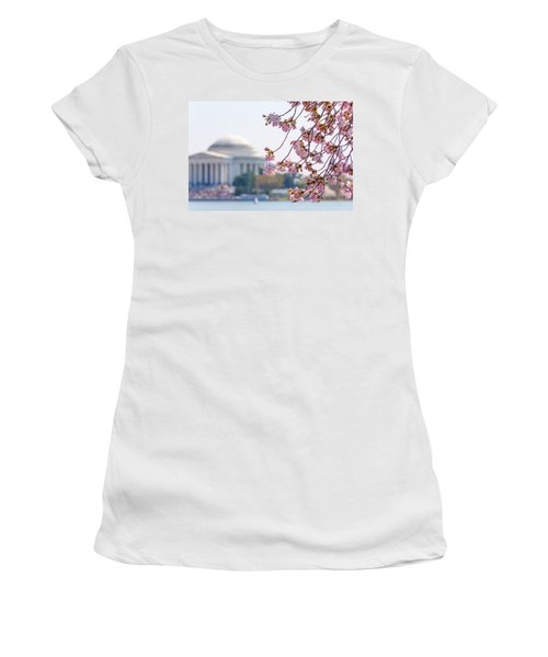 Cherry Blossoms And Jefferson Memorial Women's T-Shirt (Athletic Fit)