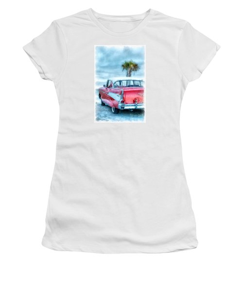 Chevy Belair At The Beach Watercolor Women's T-Shirt