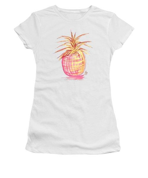Chic Pink Metallic Gold Pineapple Fruit Wall Art Aroon Melane 2015 Collection By Madart Women's T-Shirt (Junior Cut) by Megan Duncanson