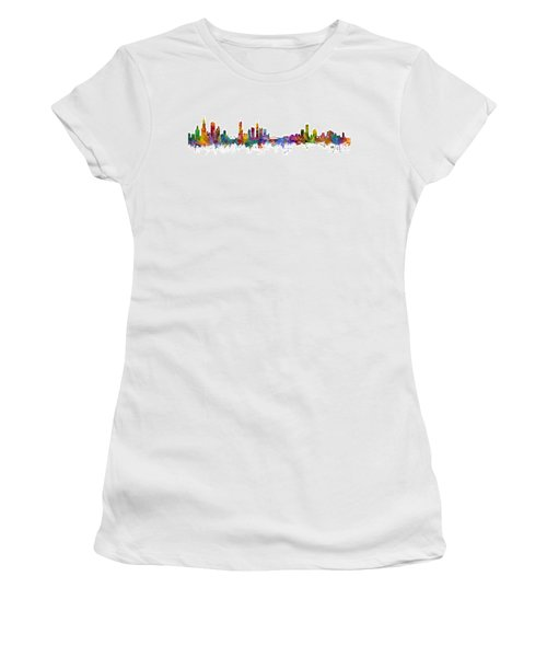 Chicago And Milwaukee Skyline Mashup Women's T-Shirt (Athletic Fit)