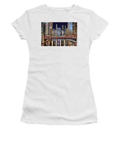 Chicago Full City View Women's T-Shirt (Junior Cut) by Frozen in Time Fine Art Photography