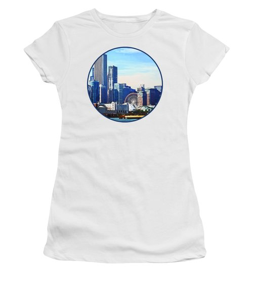 Chicago Il - Chicago Skyline And Navy Pier Women's T-Shirt