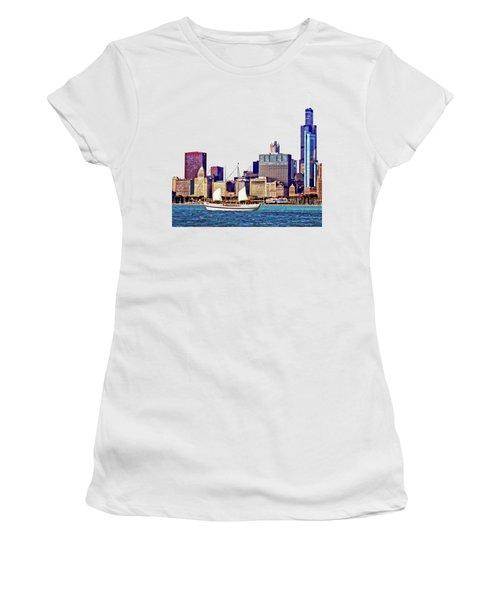 Chicago Il - Schooner Against Chicago Skyline Women's T-Shirt (Junior Cut) by Susan Savad