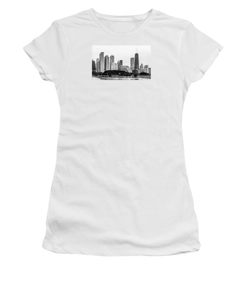 Women's T-Shirt (Athletic Fit) featuring the photograph Chicago Skyline Architecture by Julie Palencia