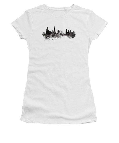 Women's T-Shirt (Junior Cut) featuring the digital art Chicago Skyline Black And White by Marian Voicu