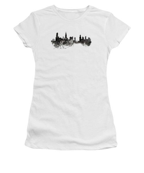 Chicago Skyline Black And White Women's T-Shirt