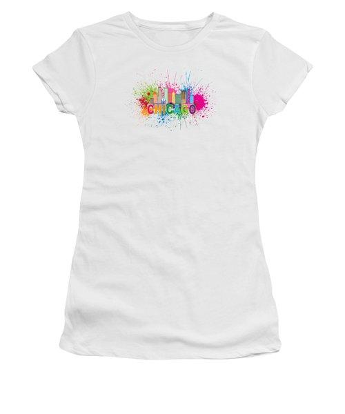 Chicago Skyline Paint Splatter Text Illustration Women's T-Shirt (Junior Cut) by Jit Lim