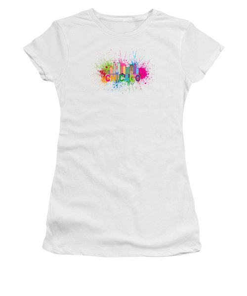 Chicago Skyline Paint Splatter Text Illustration Women's T-Shirt (Athletic Fit)