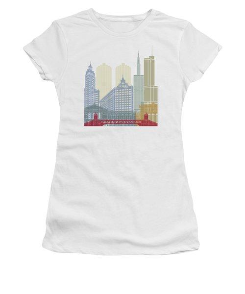 Chicago Skyline Poster Women's T-Shirt (Junior Cut) by Pablo Romero