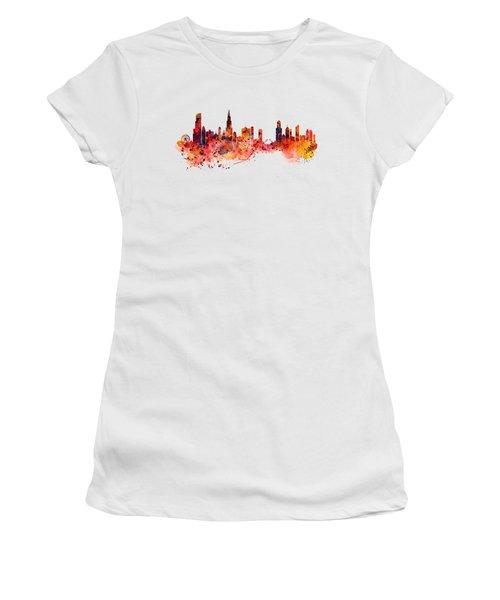 Chicago Watercolor Skyline Women's T-Shirt (Junior Cut) by Marian Voicu
