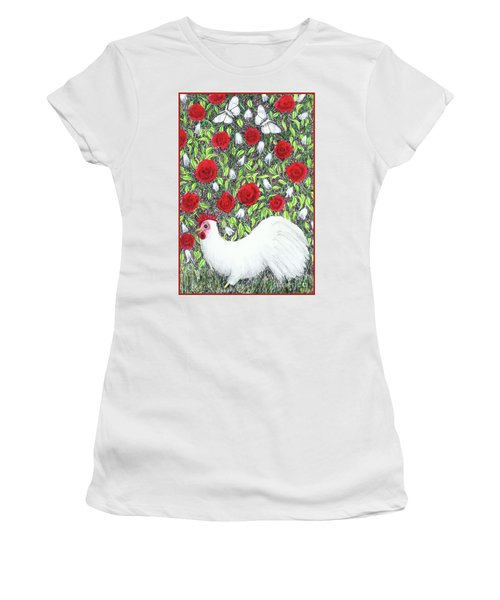 Chicken And Butterflies In The Flowers Women's T-Shirt