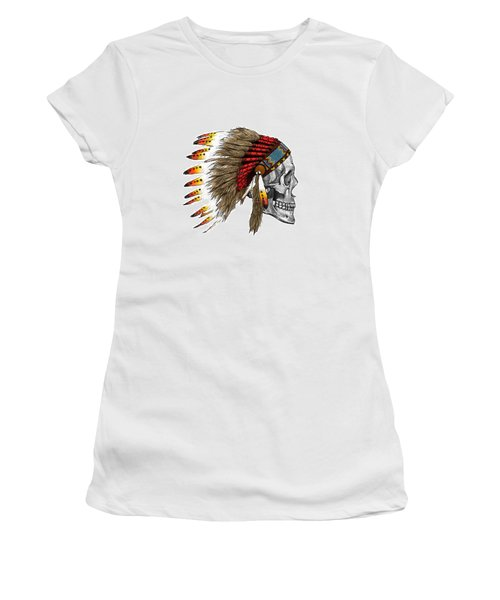 Chief Headdress On Human Skull Native American Art Women's T-Shirt