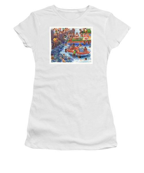 Children Playing At Avarua Wharf  Women's T-Shirt