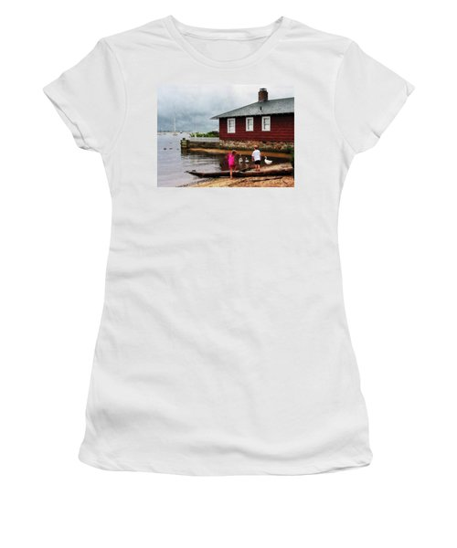 Women's T-Shirt (Junior Cut) featuring the photograph Children Playing At Harbor Essex Ct by Susan Savad