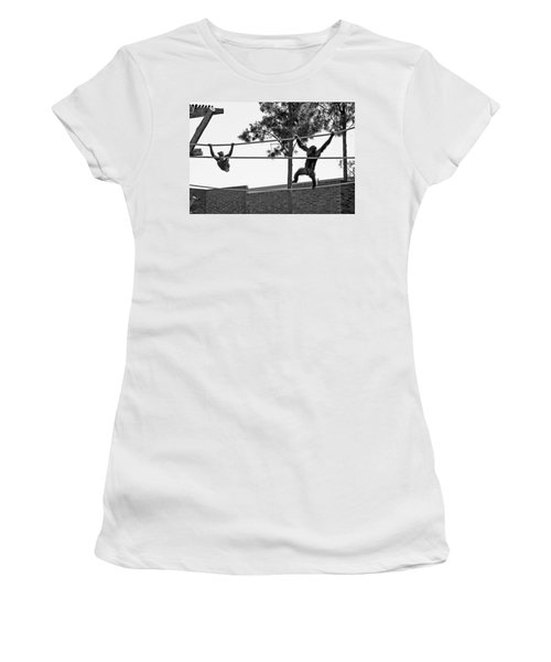 Women's T-Shirt (Athletic Fit) featuring the photograph Chimps In Black And White by Miroslava Jurcik