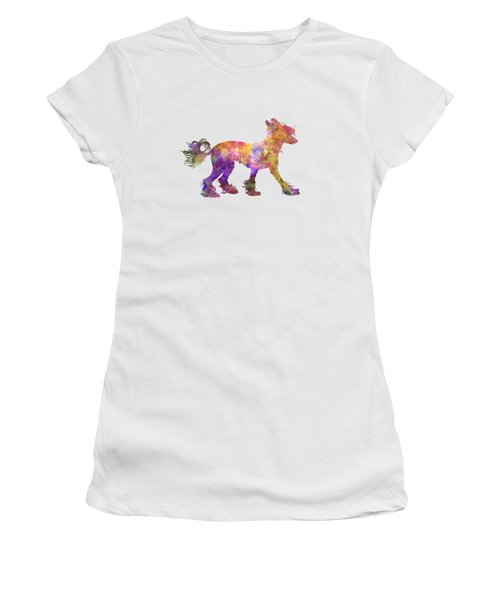 Chinese Crested Dog 01 In Watercolor Women's T-Shirt