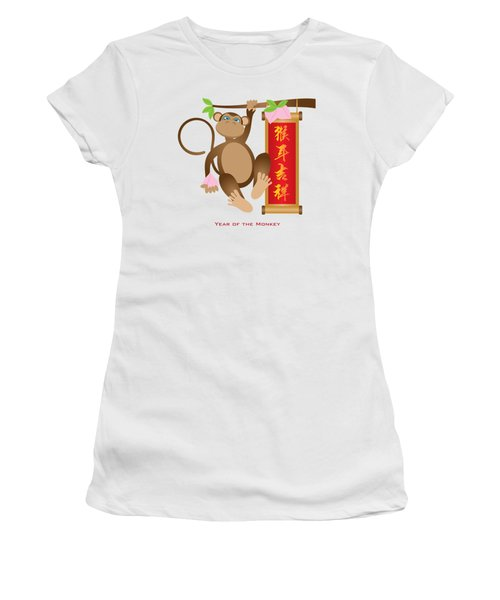 Chinese Year Of The Monkey With Peach And Banner Illustration Women's T-Shirt (Athletic Fit)