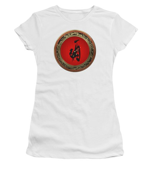 Chinese Zodiac - Year Of The Rooster On White Leather Women's T-Shirt (Athletic Fit)