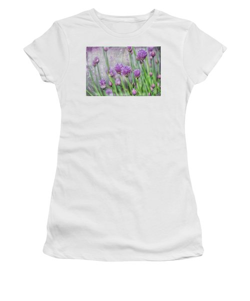 Chives In Texture Women's T-Shirt (Junior Cut) by Debra Baldwin