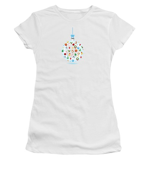 Christmas Bulb Art And Greeting Card Women's T-Shirt (Athletic Fit)