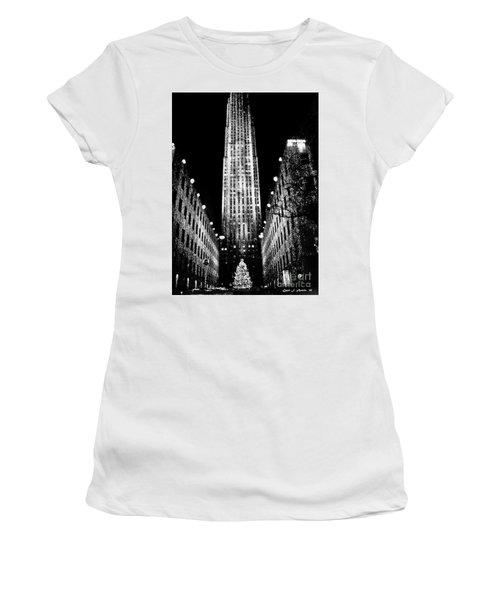 Christmas In New York City Women's T-Shirt (Junior Cut) by Carol F Austin