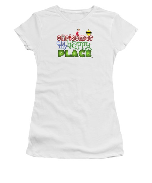 Christmas Is My Happy Place Women's T-Shirt (Junior Cut) by Shelley Overton