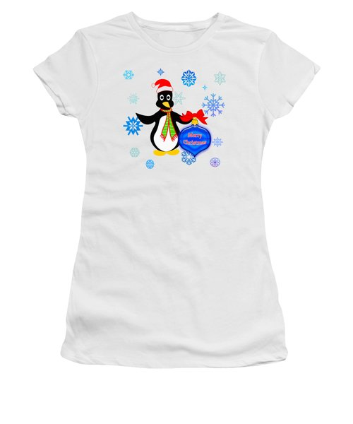 Christmas Penguin Women's T-Shirt (Junior Cut) by Methune Hively