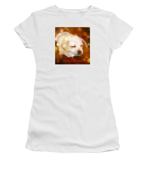 Women's T-Shirt (Junior Cut) featuring the photograph Christmas Puppy by Amanda Eberly-Kudamik