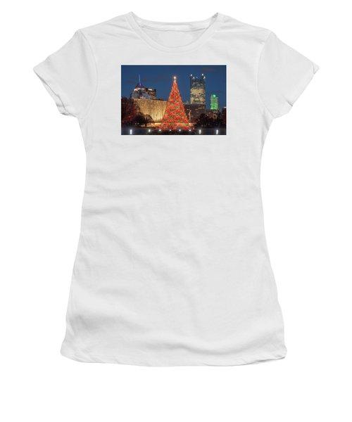 Women's T-Shirt (Junior Cut) featuring the photograph Christmas  Season In Pittsburgh  by Emmanuel Panagiotakis