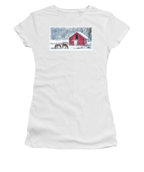 Christmas Snowstorm Vermont Watercolor Women's T-Shirt
