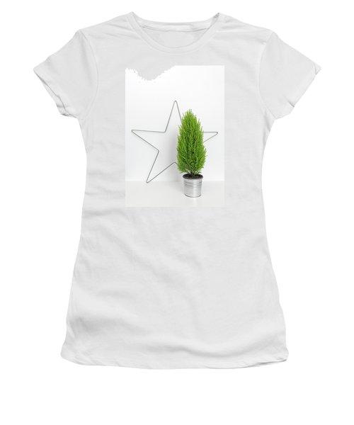Christmas Star And Little Green Tree Women's T-Shirt (Junior Cut) by GoodMood Art
