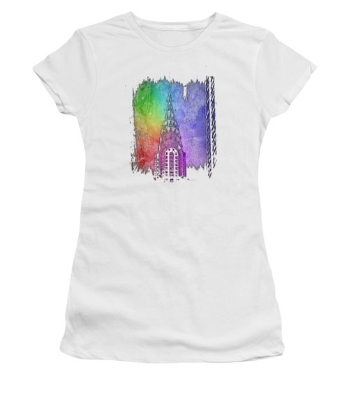 Chrysler Spire Cool Rainbow 3 Dimensional Women's T-Shirt (Athletic Fit)