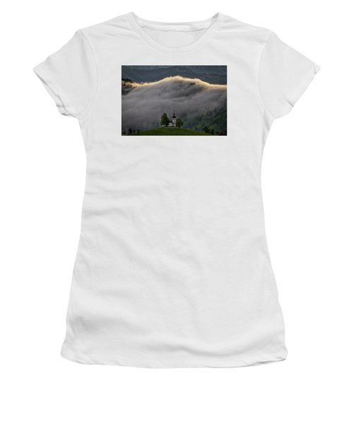 Women's T-Shirt (Athletic Fit) featuring the photograph Church Of St. Thomas - Slovenia by Stuart Litoff