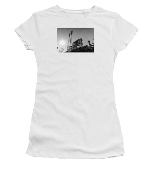 Cincinnati Reds Riverfront Stadium Black And White  Women's T-Shirt (Junior Cut) by John McGraw