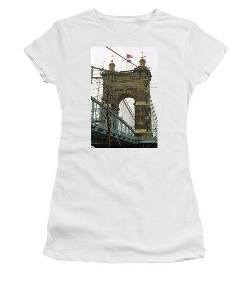 Cincinnati - Roebling Bridge 4 Women's T-Shirt (Junior Cut) by Frank Romeo