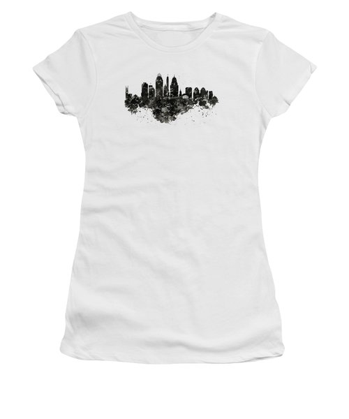 Women's T-Shirt (Junior Cut) featuring the mixed media Cincinnati Skyline Black And White by Marian Voicu