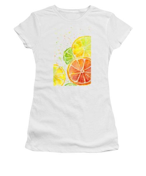 Citrus Fruit Watercolor Women's T-Shirt (Junior Cut) by Olga Shvartsur