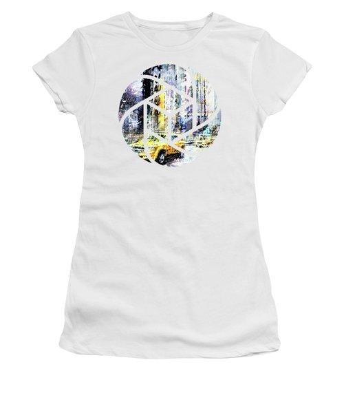 City-art Times Square Streetscene Women's T-Shirt (Junior Cut) by Melanie Viola