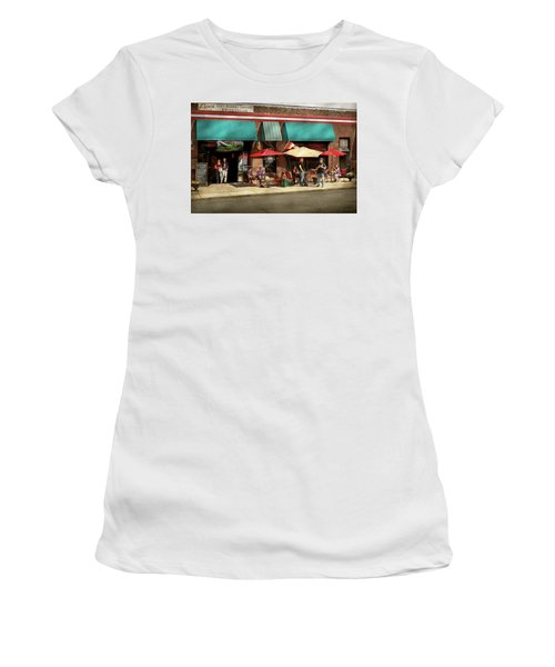 Women's T-Shirt (Junior Cut) featuring the photograph City - Edison Nj - Pino's Basket Shop by Mike Savad