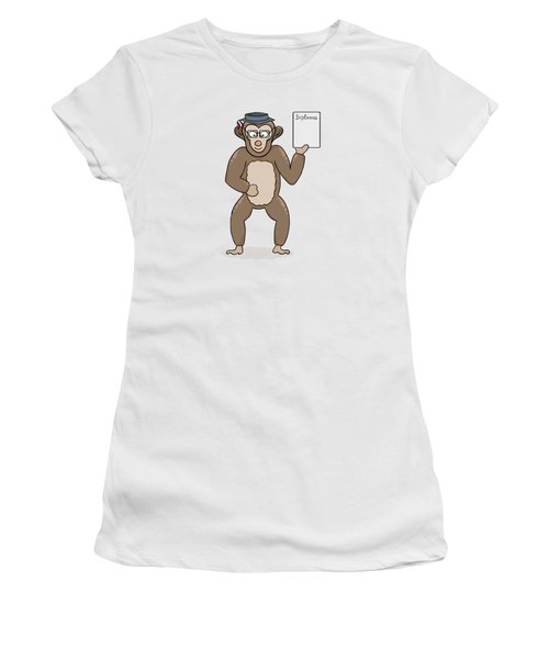 Clever Monkey With Diploma Women's T-Shirt (Athletic Fit)