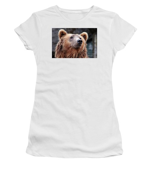Women's T-Shirt (Junior Cut) featuring the photograph Close Up Bear by MGL Meiklejohn Graphics Licensing