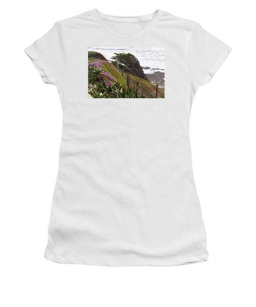 Coastal Windblown Trees Women's T-Shirt (Athletic Fit)