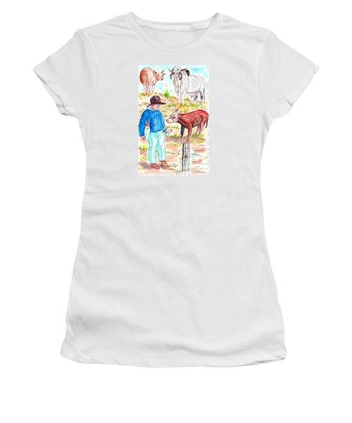 Coaxing The Herd Home Women's T-Shirt (Junior Cut) by Philip Bracco