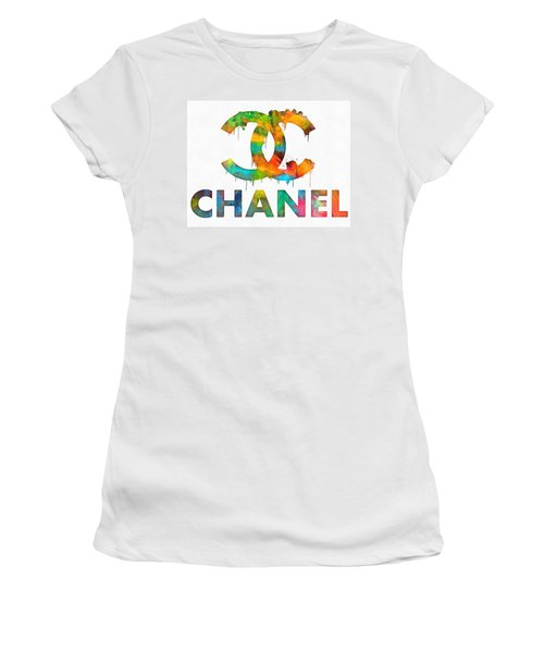 Women's T-Shirt featuring the painting Coco Chanel Paint Splatter Color by Dan Sproul