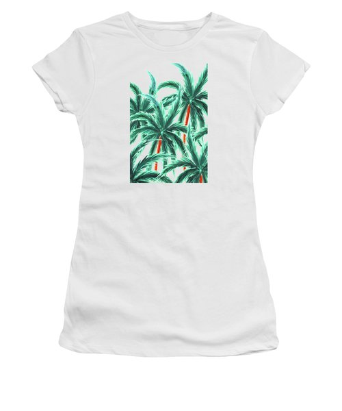 Coconut Trees Women's T-Shirt (Athletic Fit)