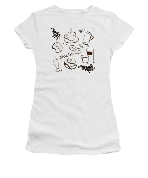 Coffee And Cafe Background Women's T-Shirt (Junior Cut) by Serena King