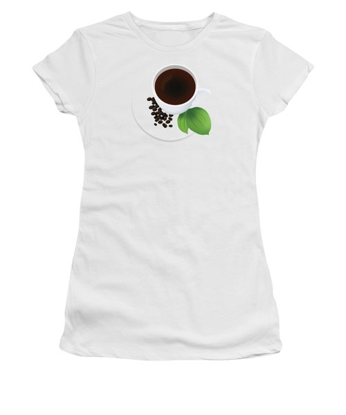 Coffee Cup On Saucer With Beans Women's T-Shirt (Athletic Fit)