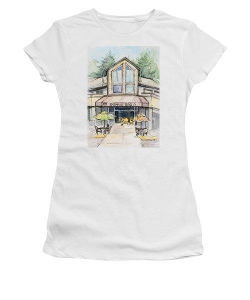 Coffee Shop Watercolor Sketch Women's T-Shirt