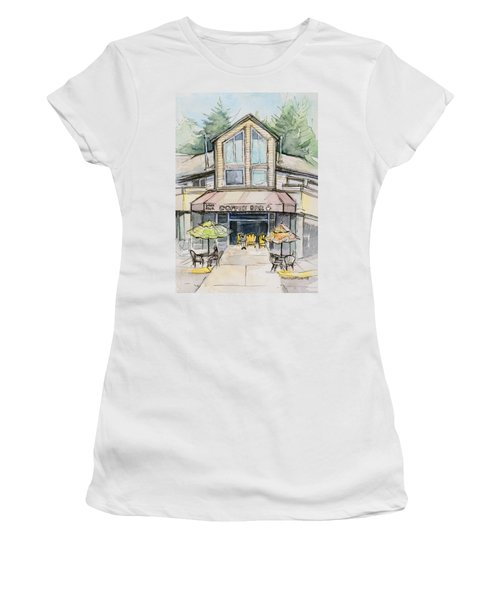 Coffee Shop Watercolor Sketch Women's T-Shirt (Athletic Fit)