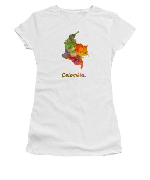 Colombia In Watercolor Women's T-Shirt